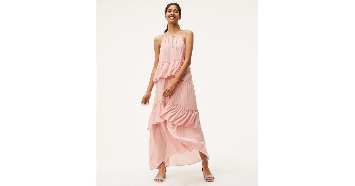 d0b0612de2c4 LOFT Tiered Halter Maxi Dress in Pink - Lyst