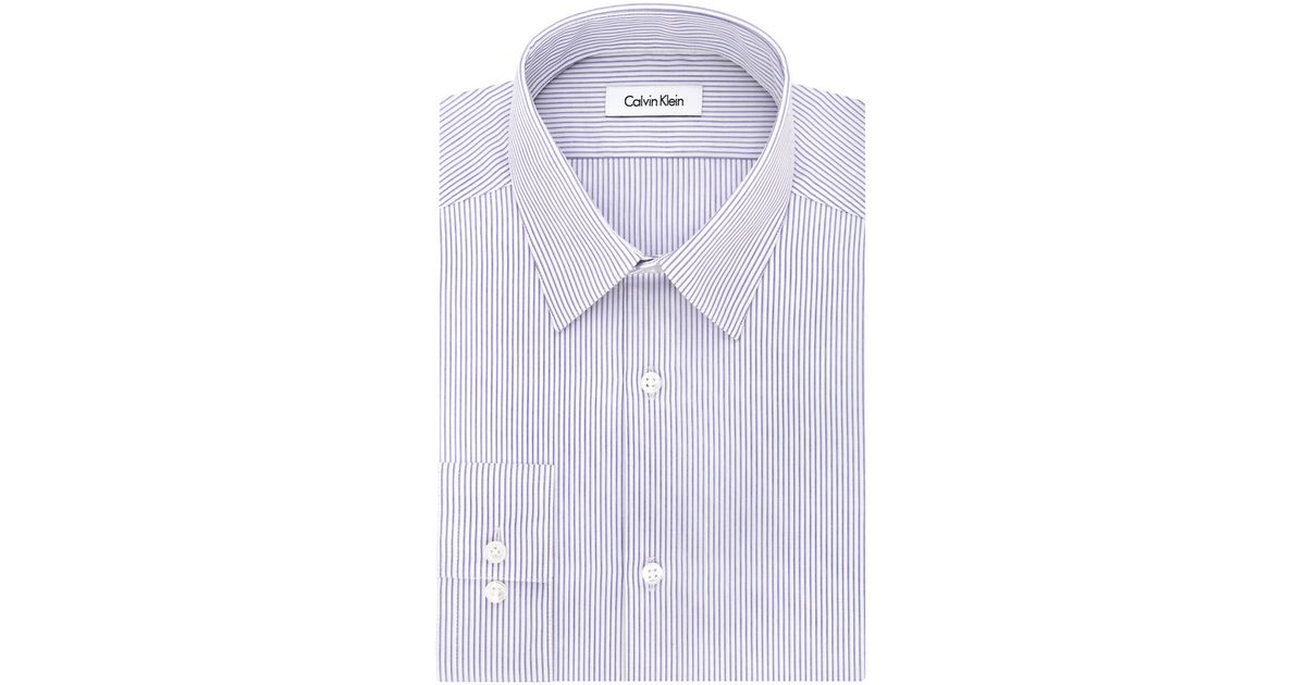 Calvin klein slim fit striped dress shirt in purple lyst for Calvin klein athletic fit dress shirt