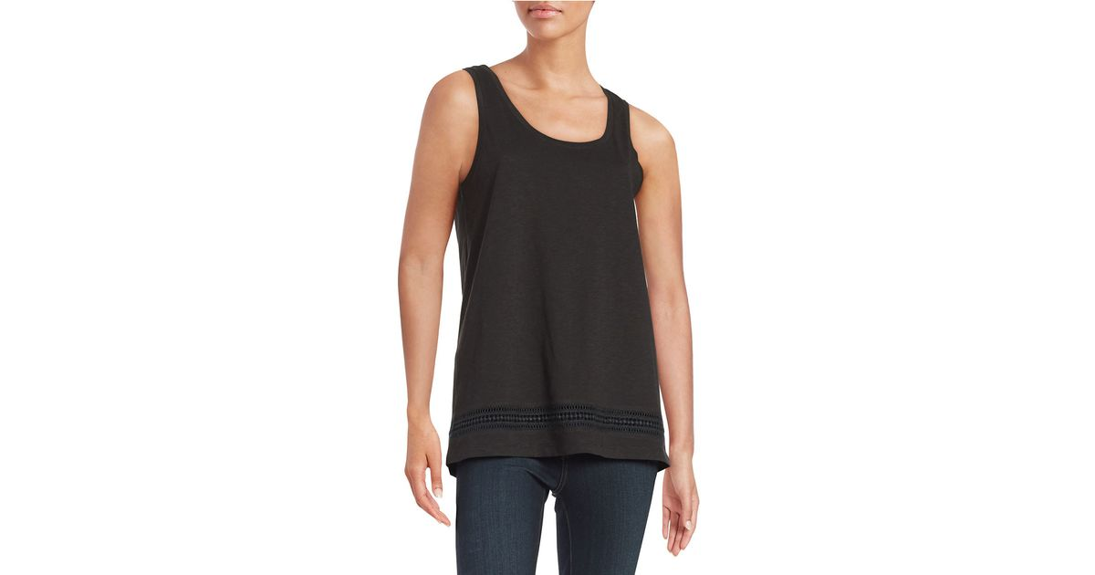 Lord Taylor Petite Embroidered Cotton Tank In Black Lyst