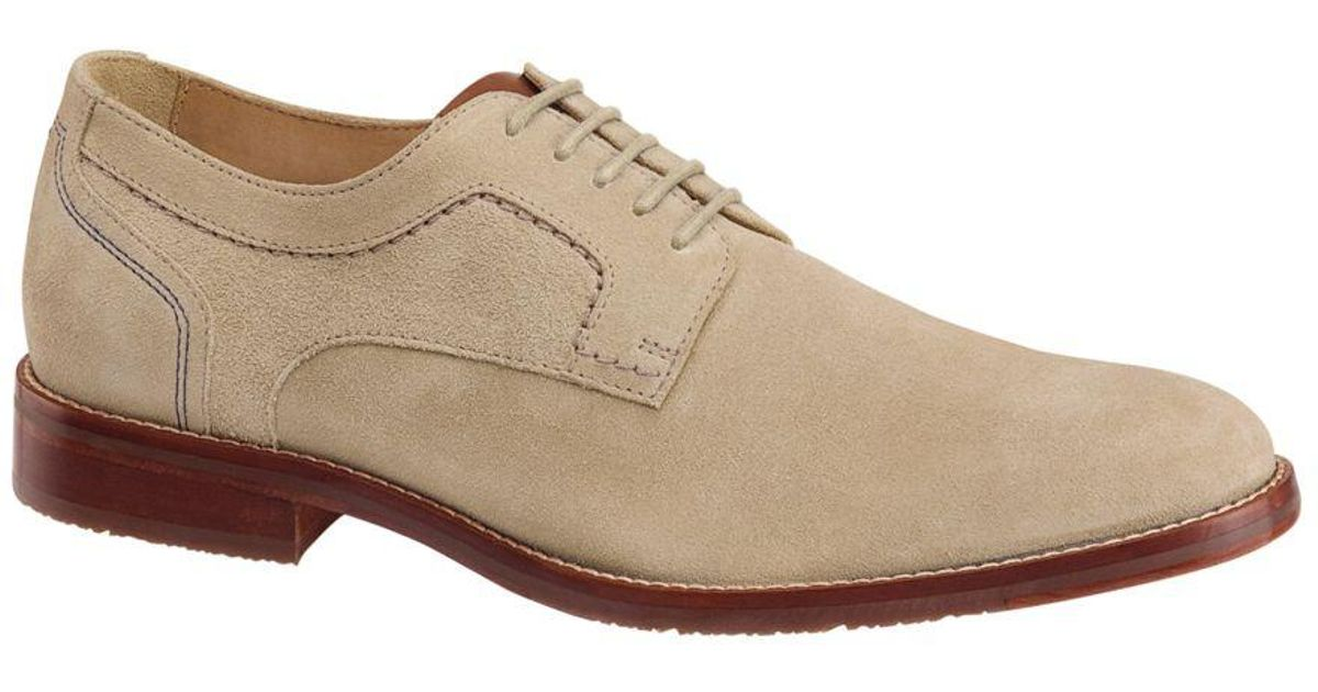Lyst - Johnston & Murphy Garner Plain Toe Suede Sheepskin-lined Oxfords in  White for Men