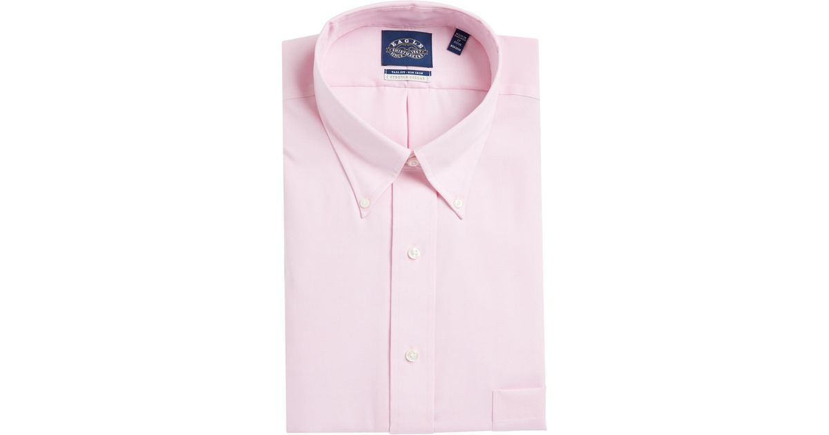 Eagle go tall solid dress shirt with stretch collar in for Tall collar dress shirts