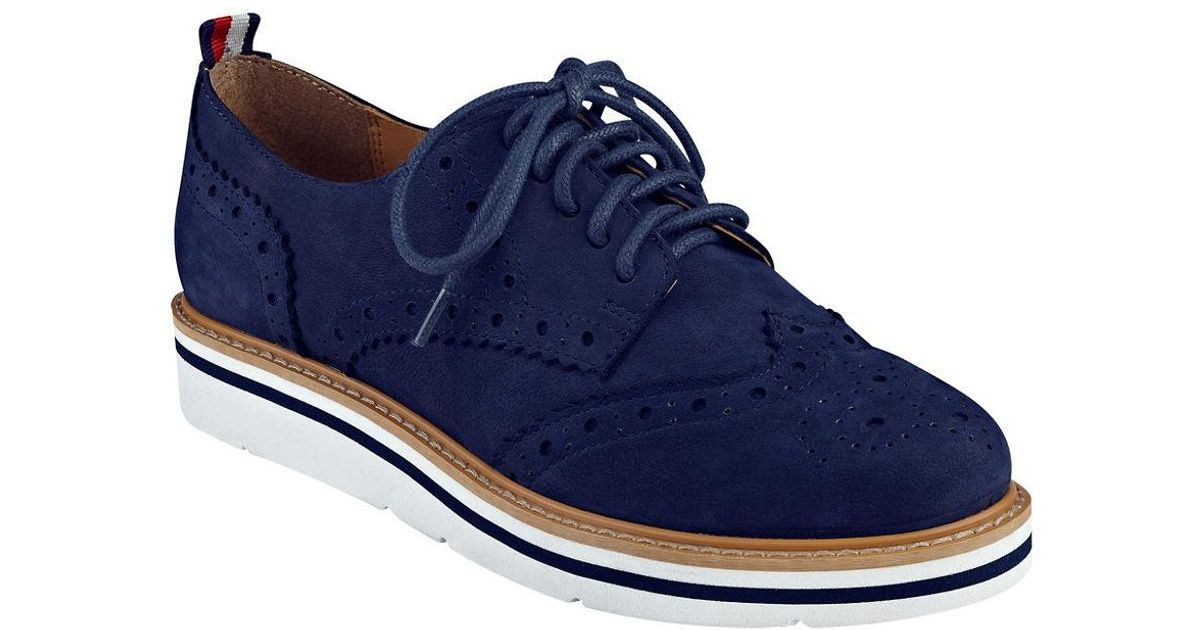 Tommy Hilfiger Kabrielle Wingtip Suede Oxfords In Blue For