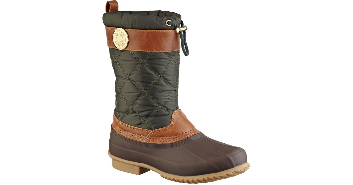 79ea482383f183 Lyst - Tommy Hilfiger Arcadia Duck Boots in Green
