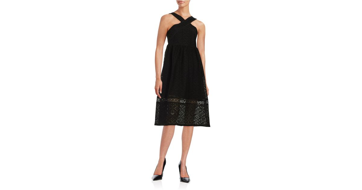 lord taylor lace halter dress in black lyst