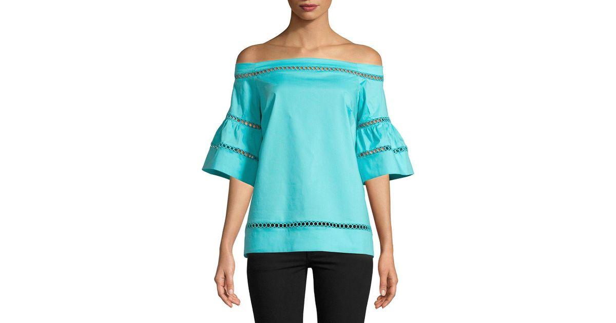 2971618146c06 Lyst - Michael Michael Kors Off-the-shoulder Cutout Top in Blue