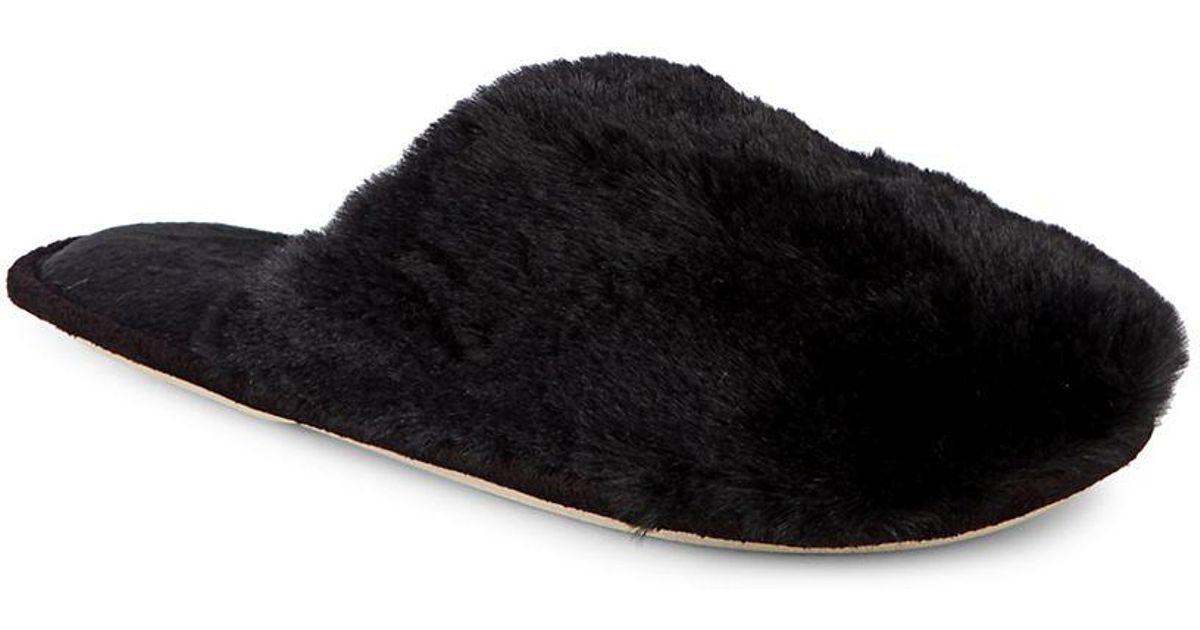 4d5afcb89483 Lyst - Kensie Fuzzy Faux Fur Slippers in Black