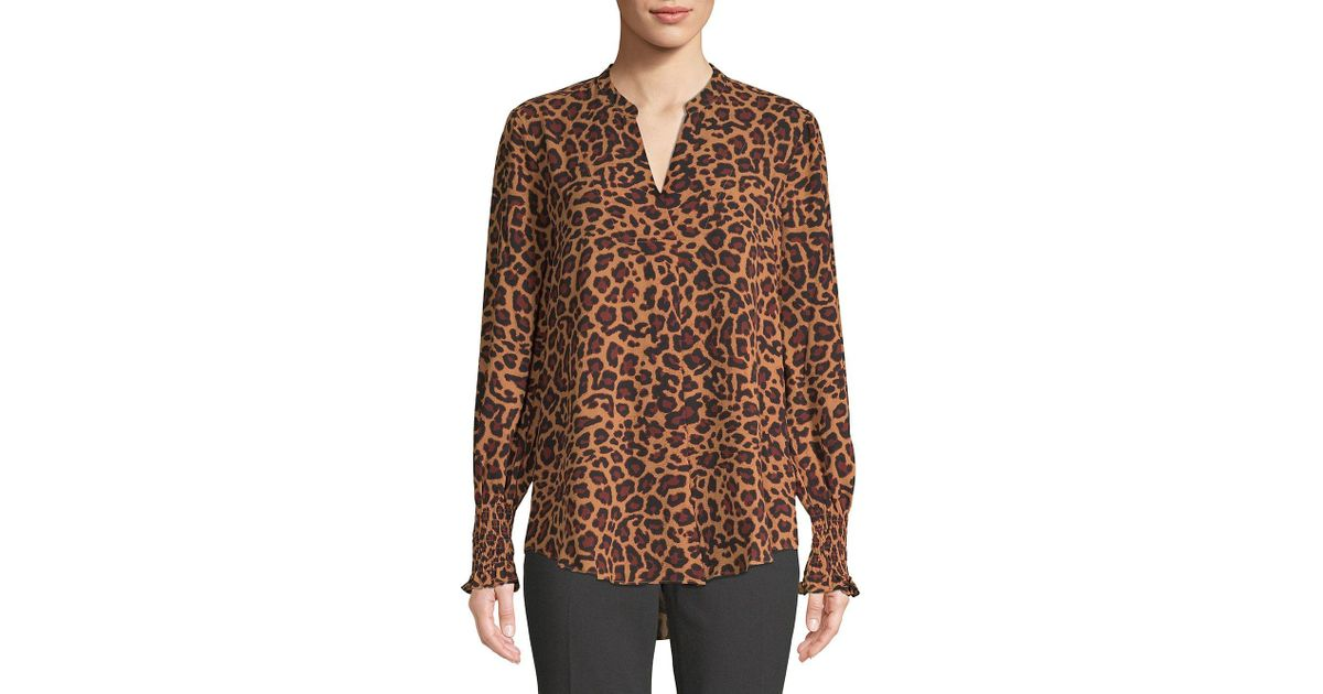 9cfe1187fea1 Lord + Taylor Leopard Print Georgie Smocked Sleeve Blouse in Brown - Lyst