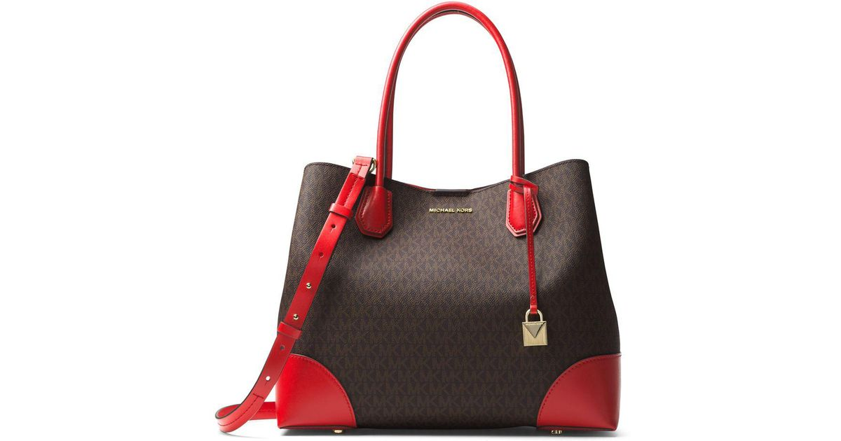 f0a3ba3b0561f ebay michael michael kors mercer gallery large center zip tote in red lyst  54c20 c15ca