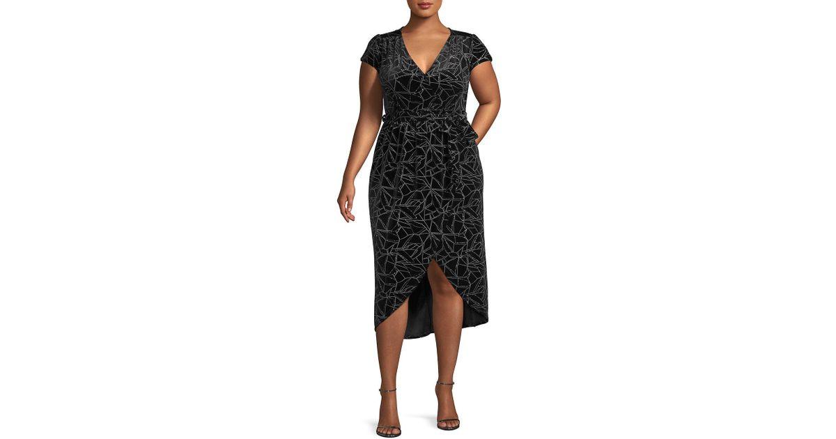 63a3c5f35db Lyst - Quiz Plus Glitter Velvet Wrap Dress in Black