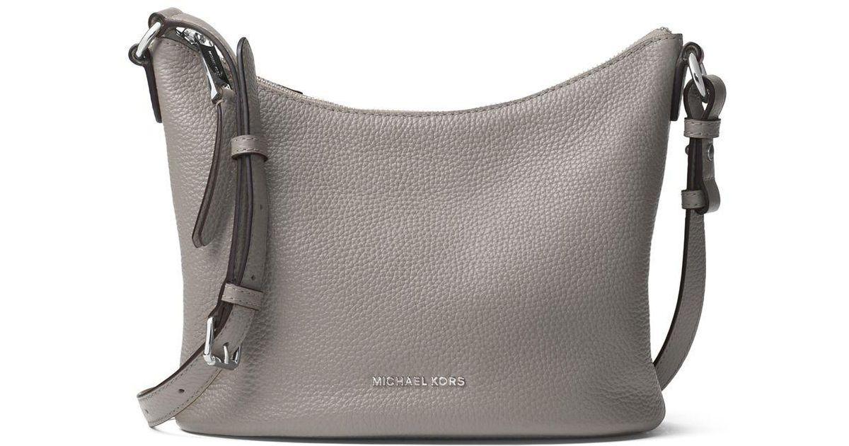 17d8c34ec175 ... store michael michael kors lupita leather medium messenger bag in gray  lyst 3ff60 4010a