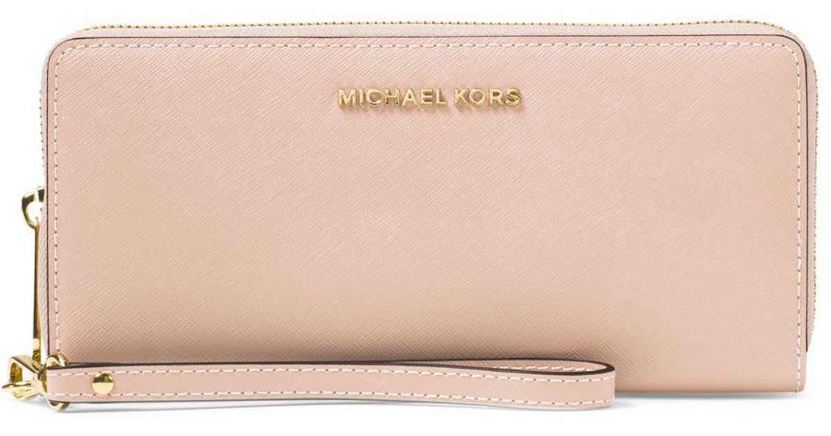 ebebea4477ef MICHAEL Michael Kors Jet Set Travel Leather Continental Wristlet in Pink -  Lyst