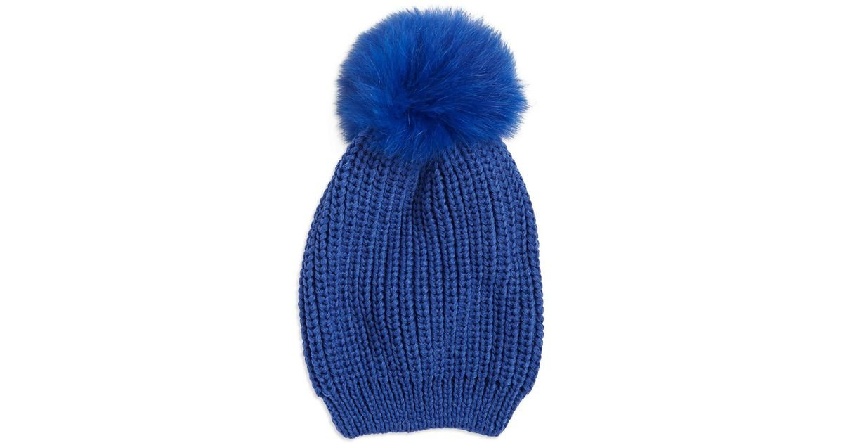 Lyst - Adrienne Landau Knitted Fox Fur Pom Pom Beanie in Blue c4a538538b24