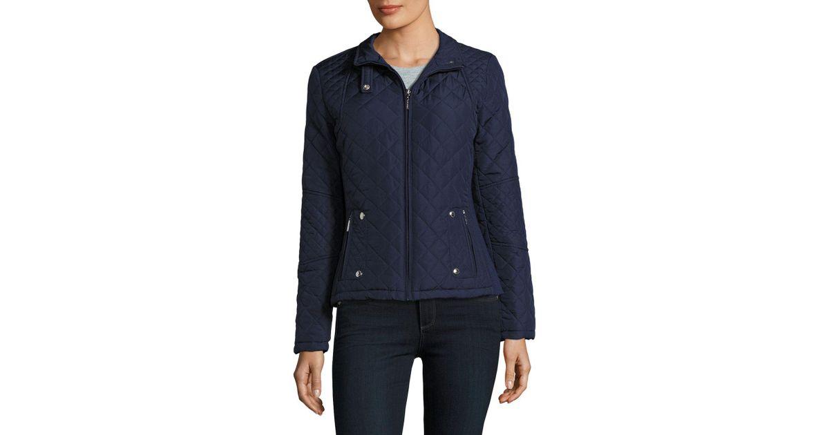 Lyst Weatherproof Plus Slim Fit Diamond Quilted Jacket In Blue