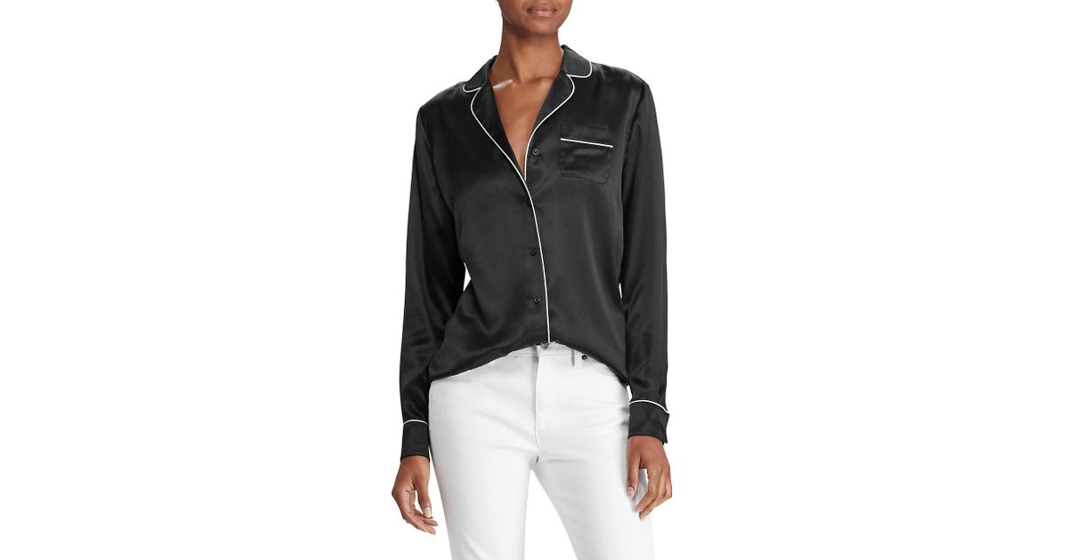 ccfcba49ee Lyst - Lauren By Ralph Lauren Charmeuse Silk Pajama Shirt in Black