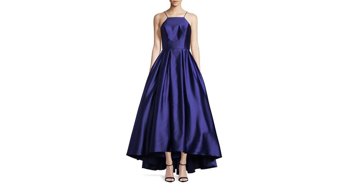 Lyst - Betsy & Adam Halter Satin Ball Gown in Blue