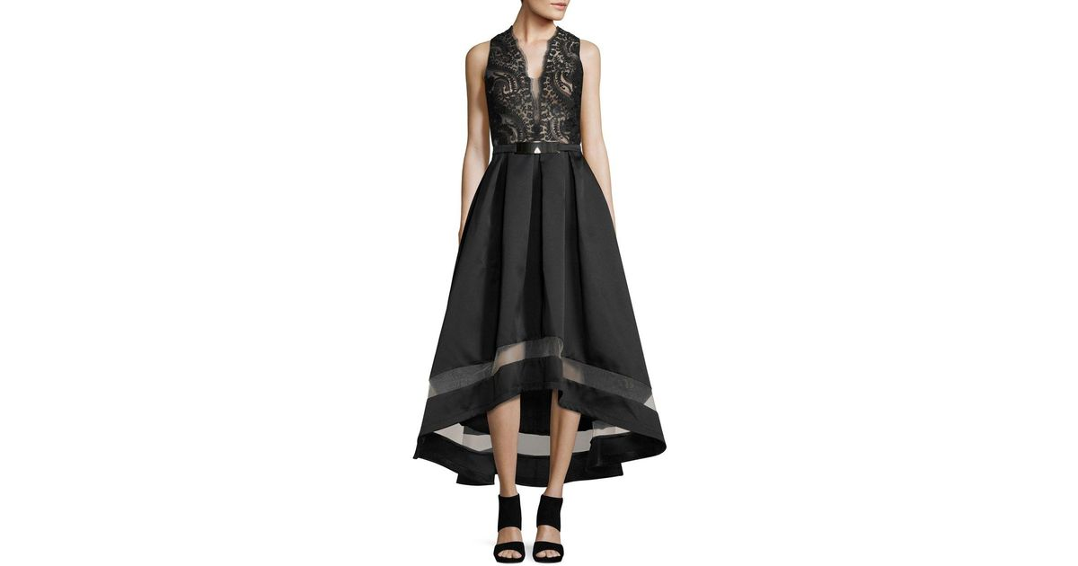 Lyst Nicole Bakti Embroidered Hi Lo Gown In Black