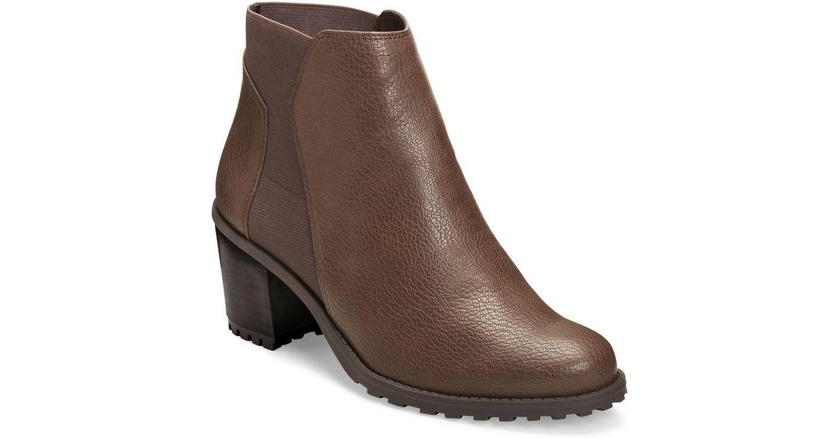 quite nice skate shoes cheaper Aerosoles Inclination Double Gore Vegan Booties in Brown - Lyst