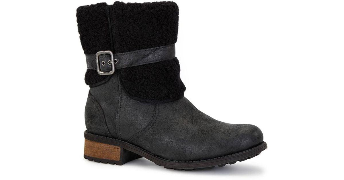 a1af2777a7d Ugg - Black Blayre Ii Shearling Cuff Suede Boots - Lyst