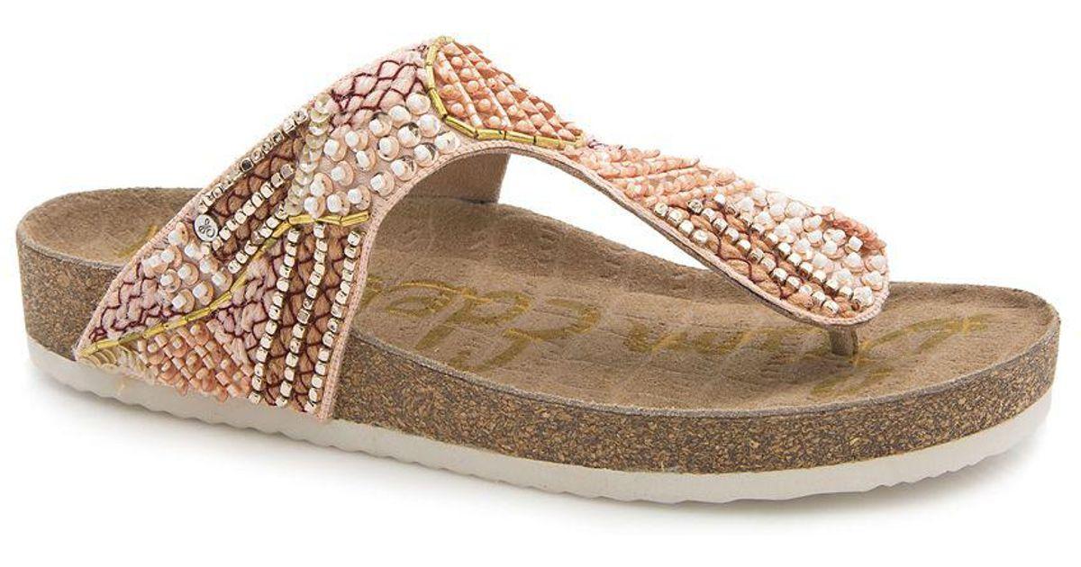 f7bded85843c Lyst - Sam Edelman Olivie 4 Embellished Satin Footbed Sandals