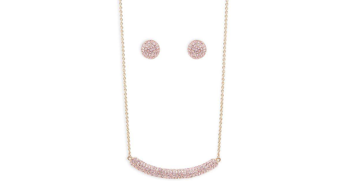 Lyst Nina Angelee Swarovski Crystal Bar Necklace And Stud Earrings Set In Pink