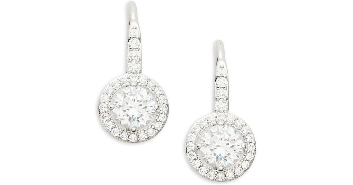 8e96dc2d5 Lyst - Nadri Crystal And Sterling Silver Fixed Framed Earrings in Metallic