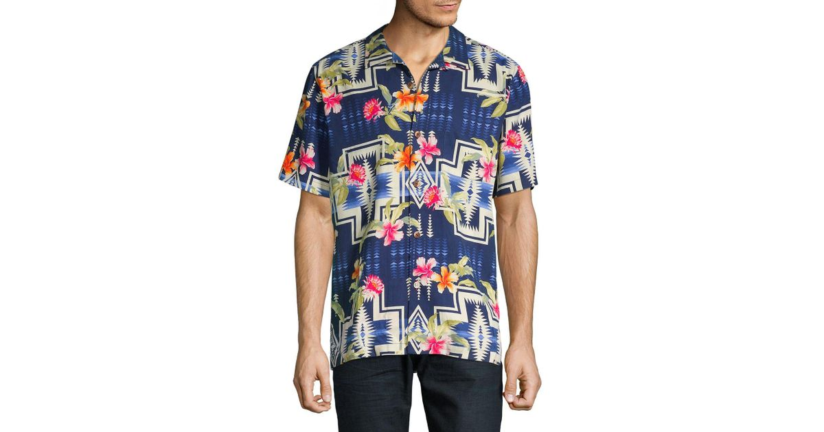 13a1f0b3 Tommy Bahama Pendleton Aloha Harding Silk Camp Button-down Shirt in Blue  for Men - Save 4% - Lyst