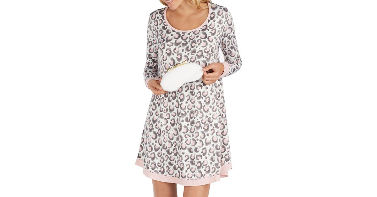 Lyst - Kensie Two-piece Printed Sleepshirt And Faux Fur Crowned Eye Mask e2e2d8479
