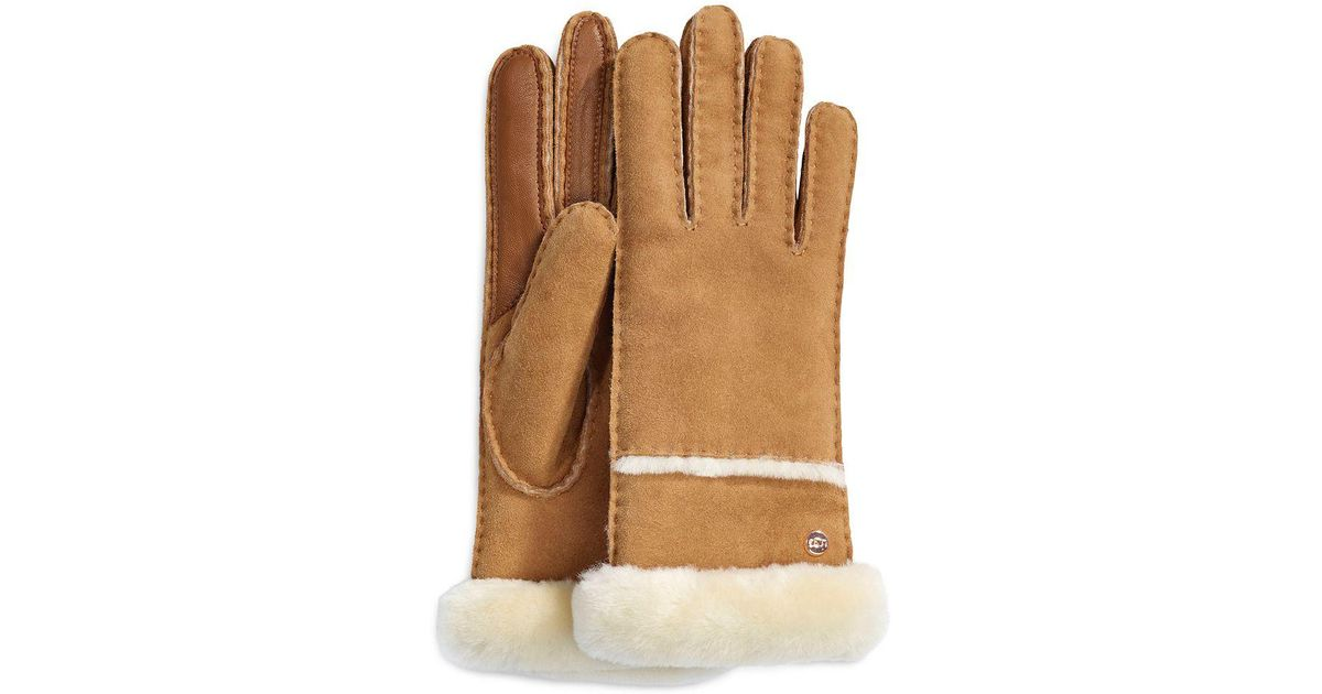 205ac4837 UGG Stormy Leather And Shearling Sheepskin Gloves in Brown - Lyst