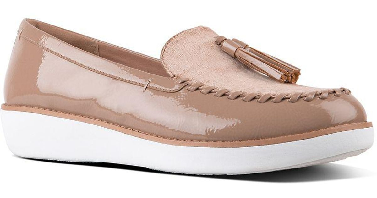 ac2b122e001 Lyst - Fitflop Paige Patent Leather Moccasin Loafers in Pink