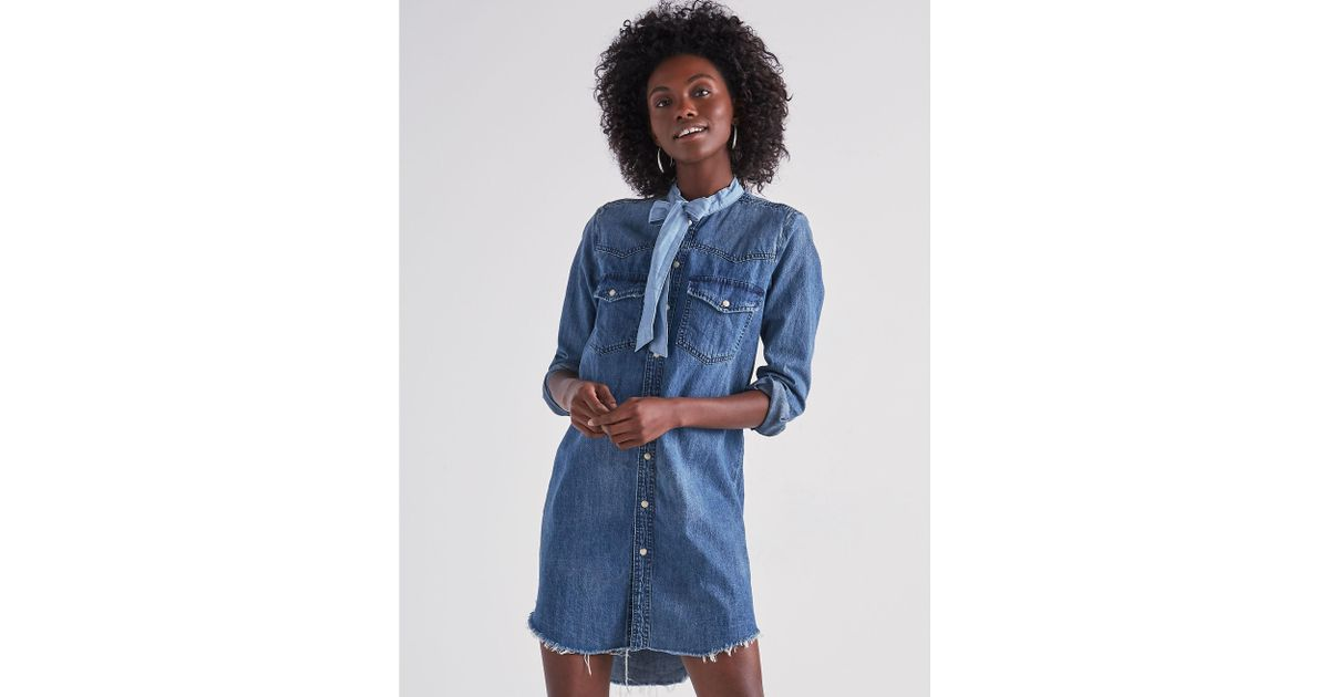cde16093da Lyst - Lucky Brand Western Shirt Dress In Ballard in Blue