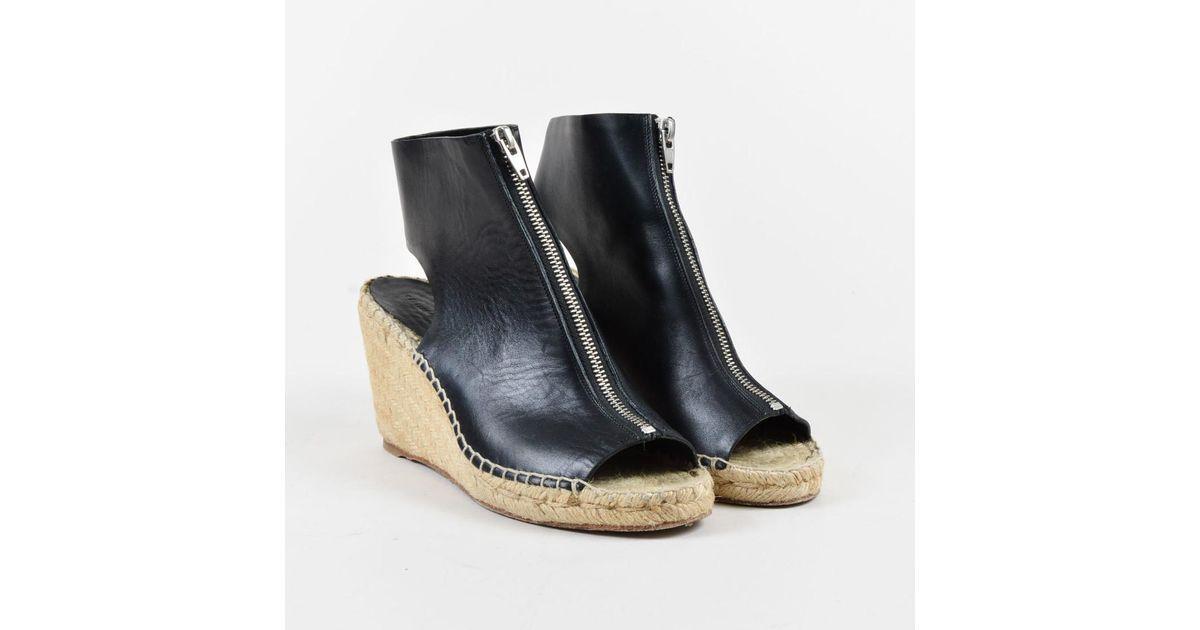 e8a4b43b210 Lyst - Céline Black Leather Open Toe Zip Up Espadrille Wedges Sz 39 in Black