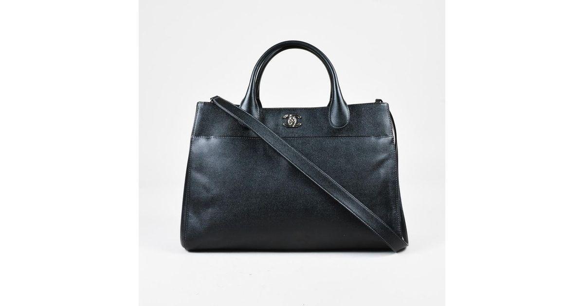 987226ea1bf4 Chanel Black Grained Leather Silver Tone 'cc'