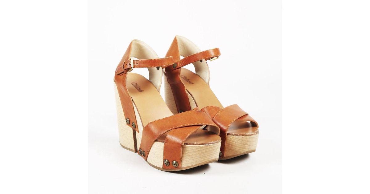 Brown Platform Sandals Chloé Wooden Leather Lyst c43Rj5qLSA