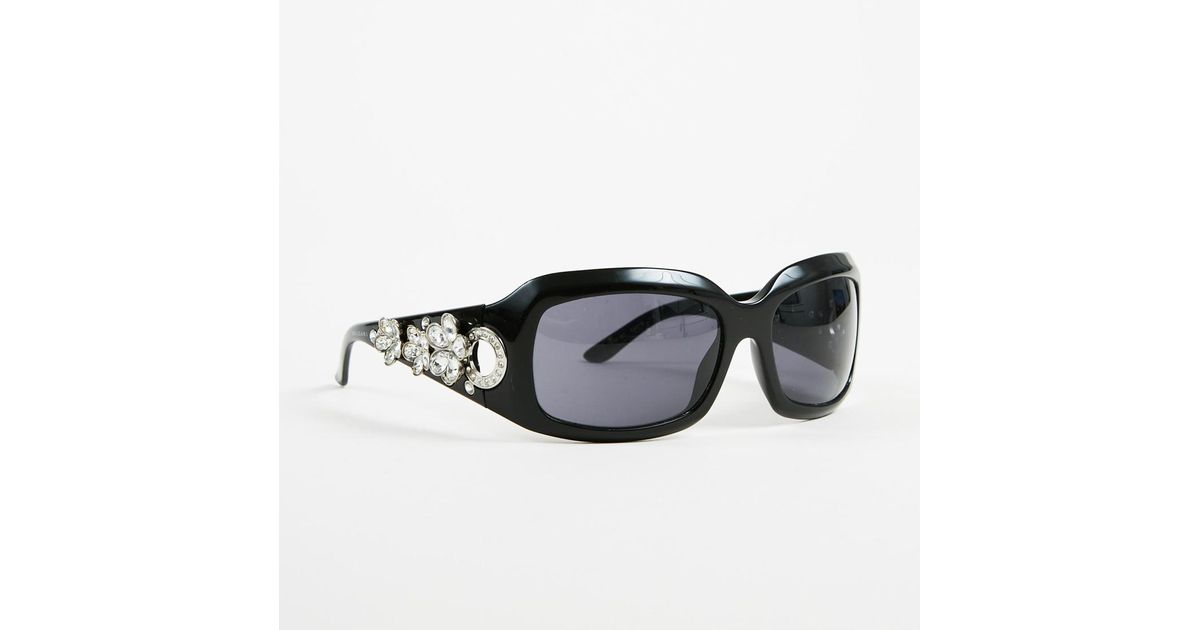 b956d31b444ae Lyst - BVLGARI Black Swarovski Crystal Embellished Oversized Sunglasses in  Black