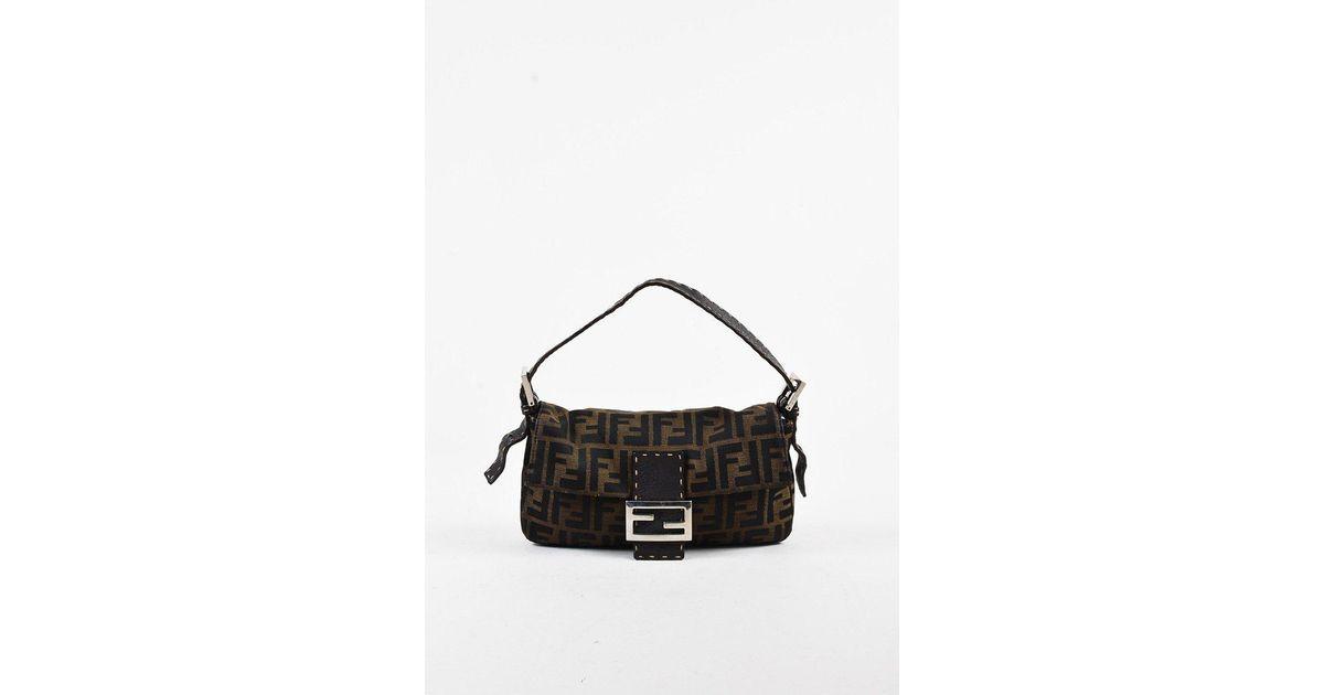 db2e3b041c54 Lyst - Fendi Brown Canvas   Leather