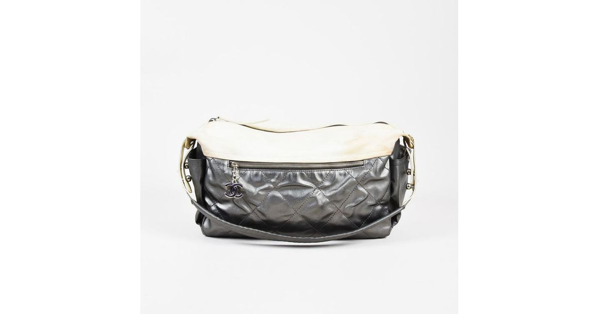 c8613f0d5a45ae Chanel Metallic Silver Cream Quilted Canvas