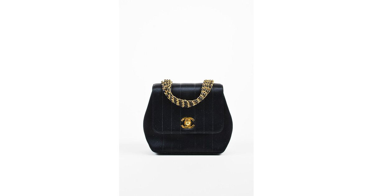 9b17111fff6e Lyst - Chanel Vintage 1994-1996 Black Satin   Leather 4 Strand Chain Mini  Evening Bag in Black
