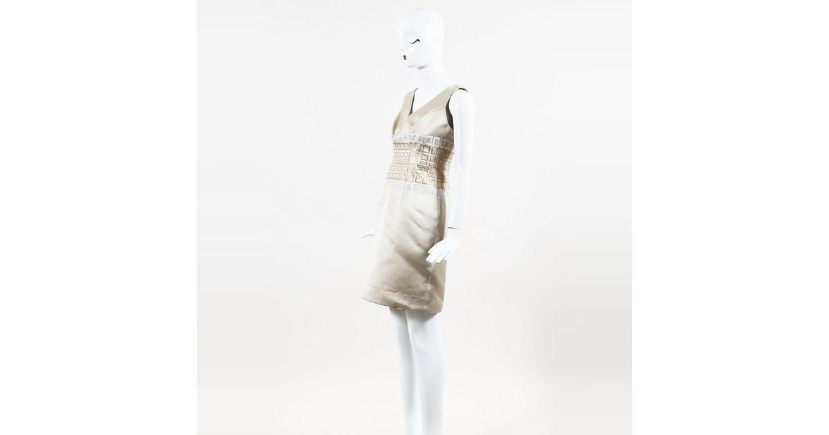 Carolina Herrera Natural Beige Metallic Gold White Silk Blend Sheath Dress Lyst