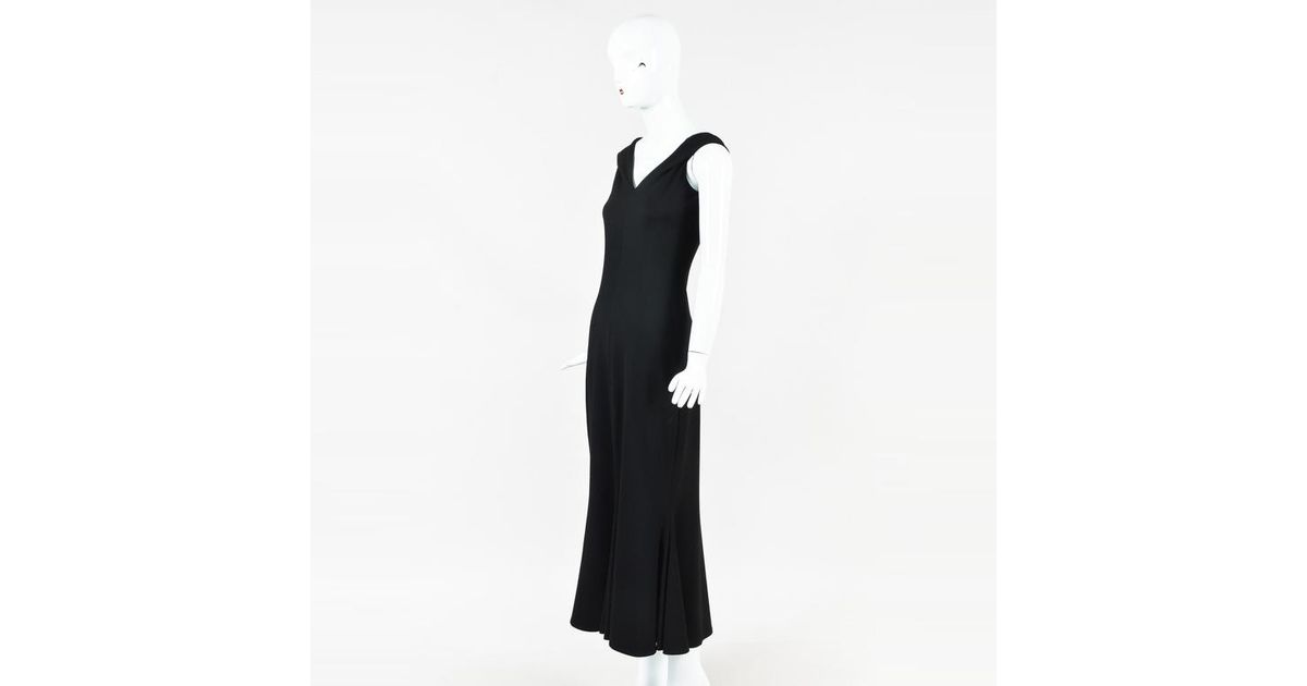 21d5e788f77 Lyst - Rosetta Getty Nwot Black Jersey Knit Split Neck Flared Maxi Dress in  Black