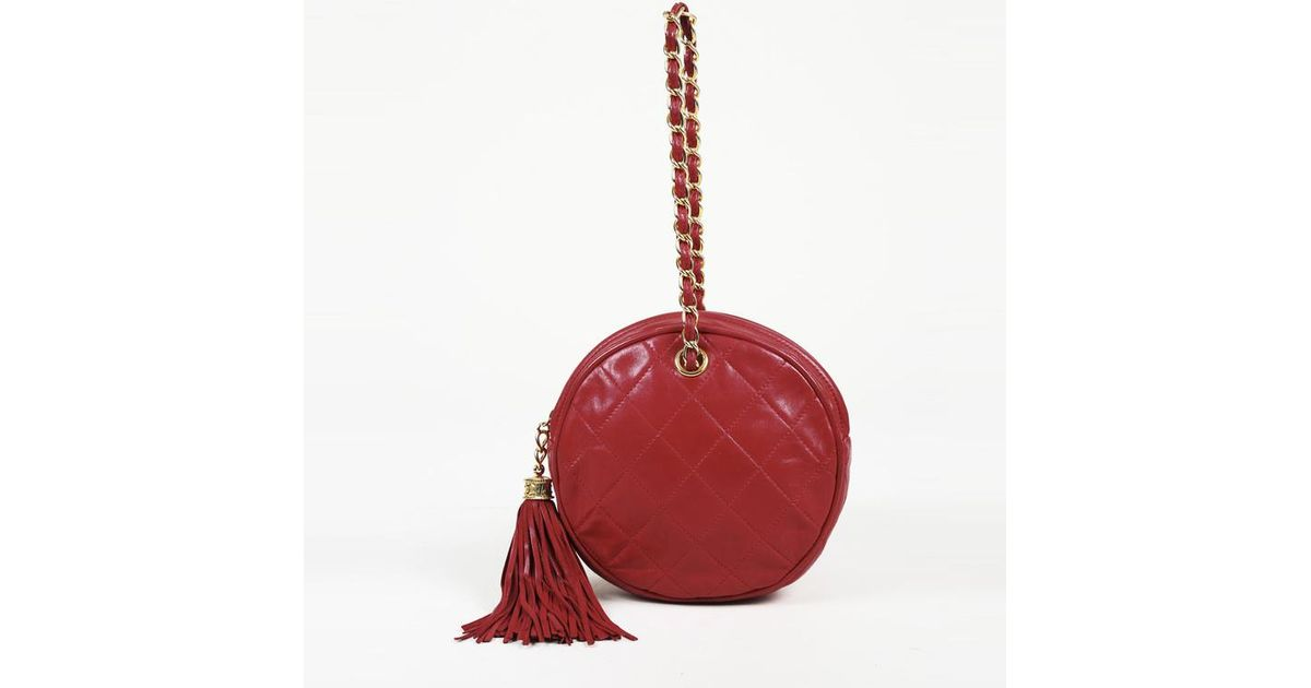 8fc98ab9ec61 Chanel Vintage 1986-1988 Quilted Lambskin Leather Circle Bag in Red - Lyst