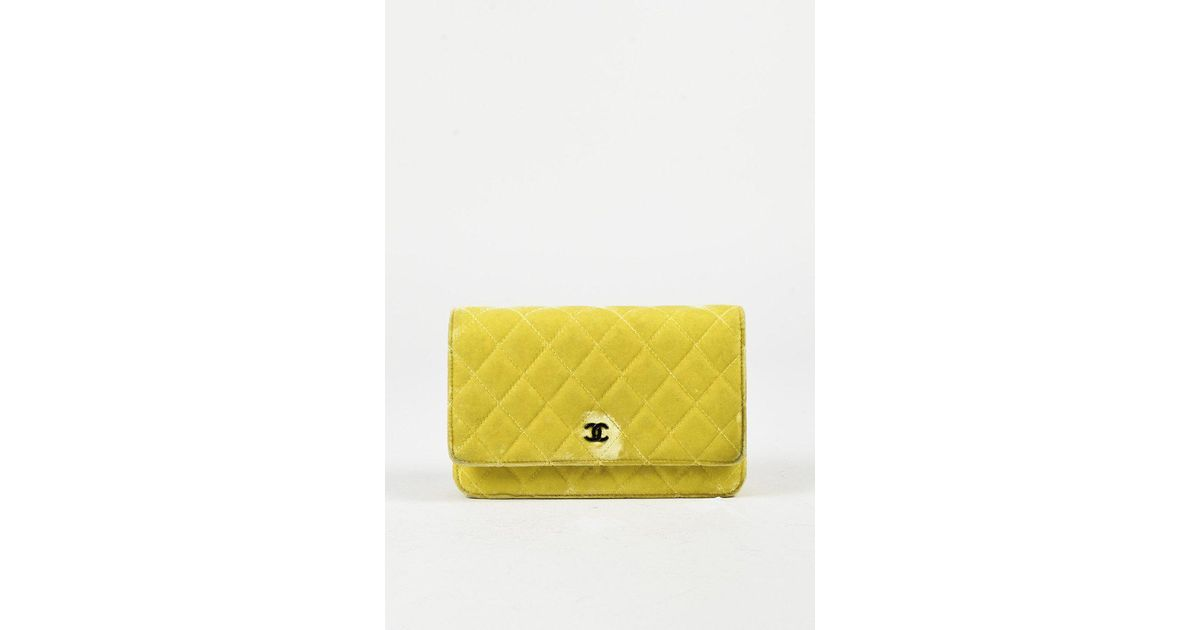 e88224ec4455 Chanel Yellow Quilted Velvet & Leather Trimmed