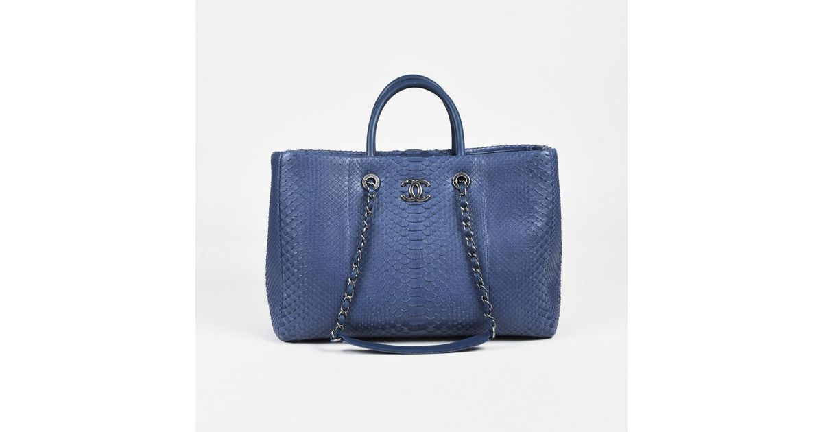 f4e0603a6465 Chanel Fw2017 Blue Python Lambskin Chain Strap Top Handle Large Shopping  Tote in Blue - Lyst