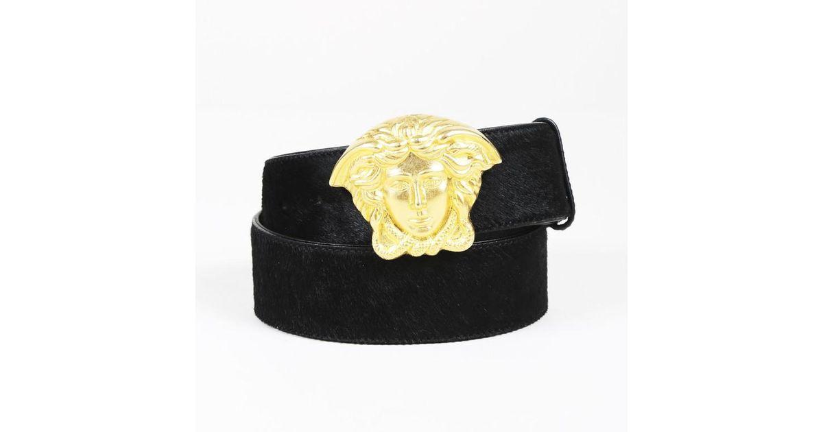 525da f0560  best price lyst versace black calf hair gold tone medusa head  belt in black 06427 730a6 4ef23d9c35f2