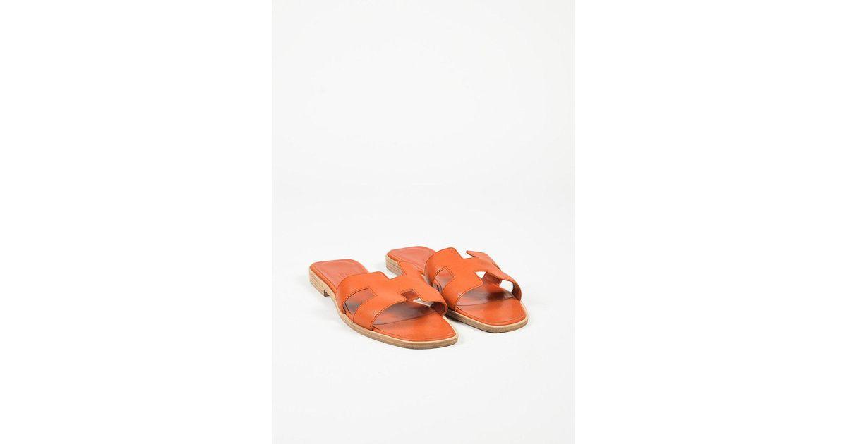 bae37b40e746 Lyst - Hermès Orange Leather
