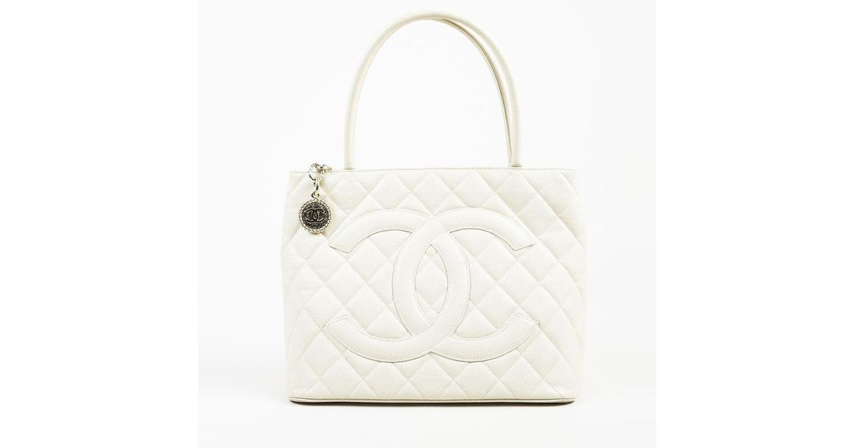 7ca0d6721268a1 Chanel Cream Caviar Leather Quilted 'cc'