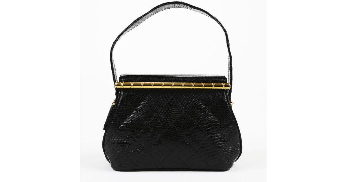 2b964cddf3b7 Chanel Black Quilted Lizard Gold Tone Frame Evening Bag in Black - Lyst
