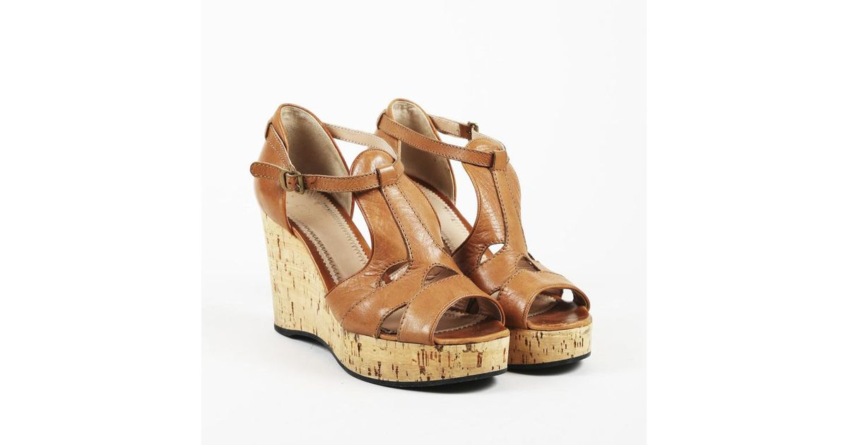 3f2c8130901 Chloé Brown Leather Cork Wedge Sandals in Brown - Lyst