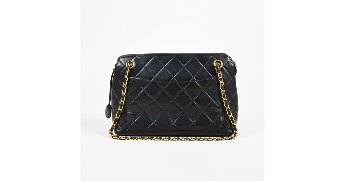 03541abc9221 Chanel Vintage Black Quilted Lambskin Leather Gold Tone Shoulder Bag in  Black - Lyst