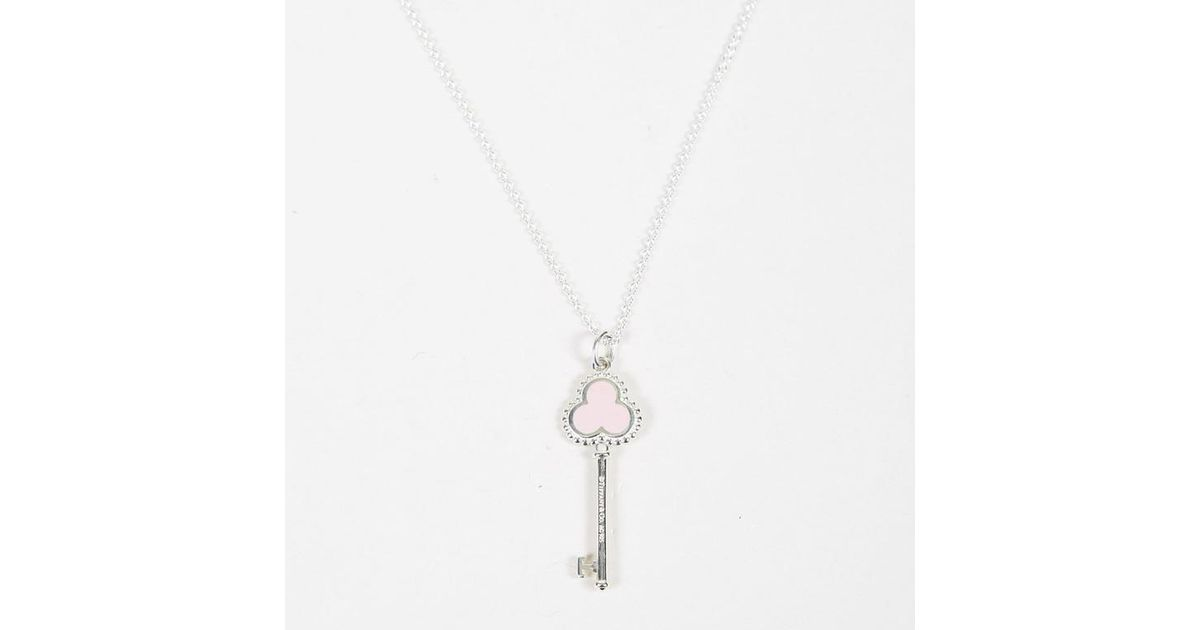 f7e1da7bd Tiffany & Co. Sterling Silver Enameled Trefoil Key Pendant Necklace in Pink  - Lyst