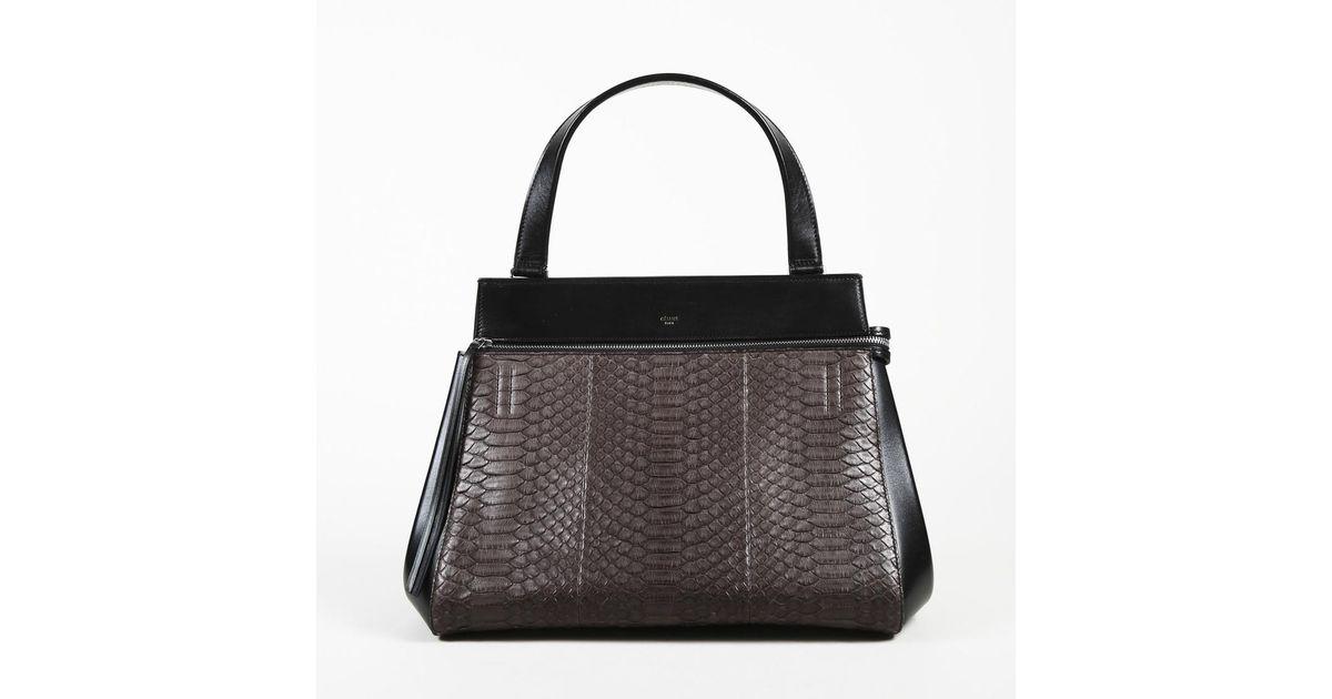 a11b005cd01 Lyst - Céline Anthracite Python Edge Top Handle Sz  Medium in Black